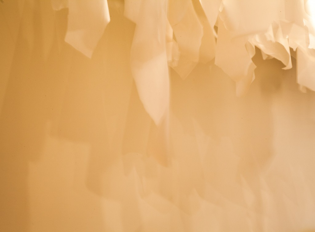 Layers of torn, translucent paper hang curling from strings attached to the ceiling