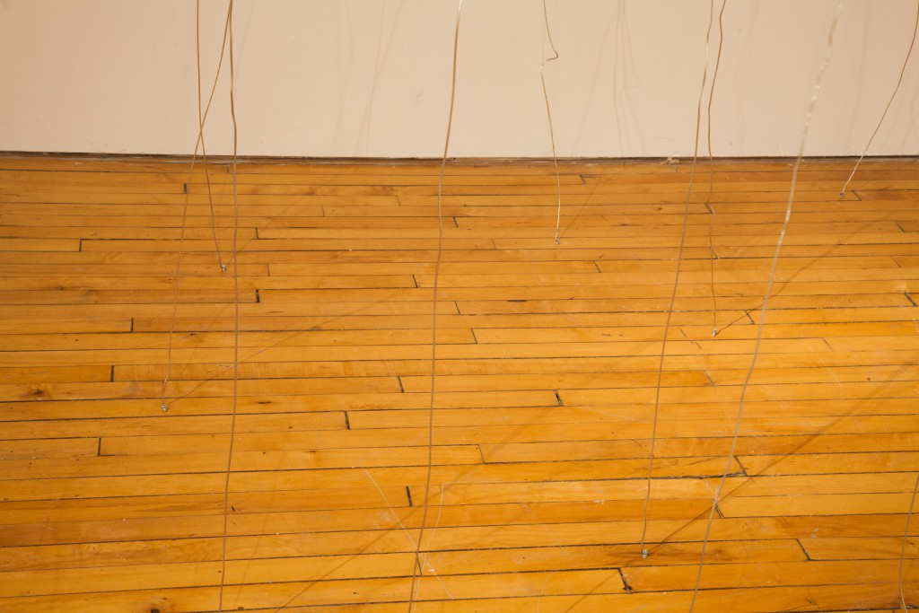 the ends of long, vertical wires are shown where they wrap around a screw in the floor. They cast long dark shadows on the floor.