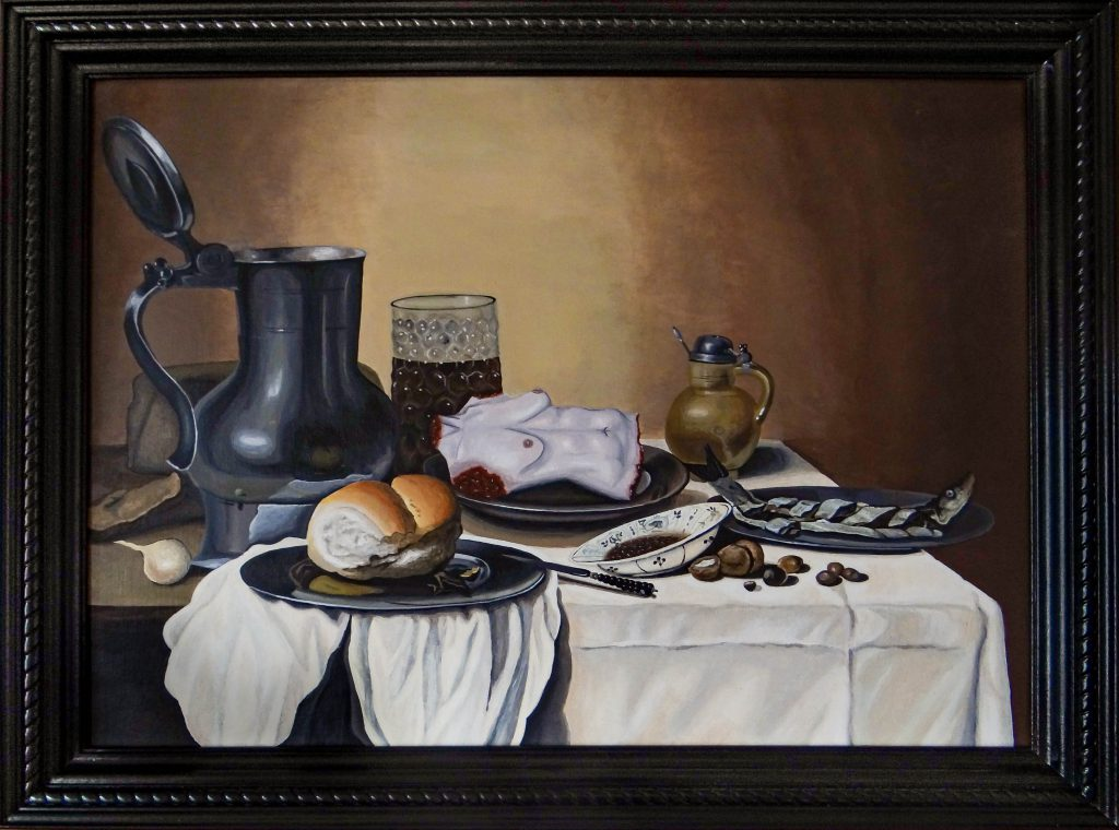 A still life with a tin pot, a glass of beer, a roll, a fish, and a severed female torso