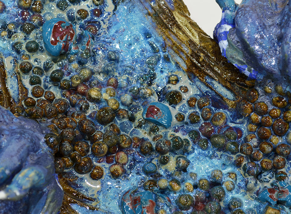Detail of Anenome Crevice Sculpture with a focus on Glazes