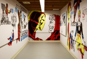 Gallery space with part of ¿Estamos Unidos?, American, Before I Forget You're On Our Side, Mexican't and American't