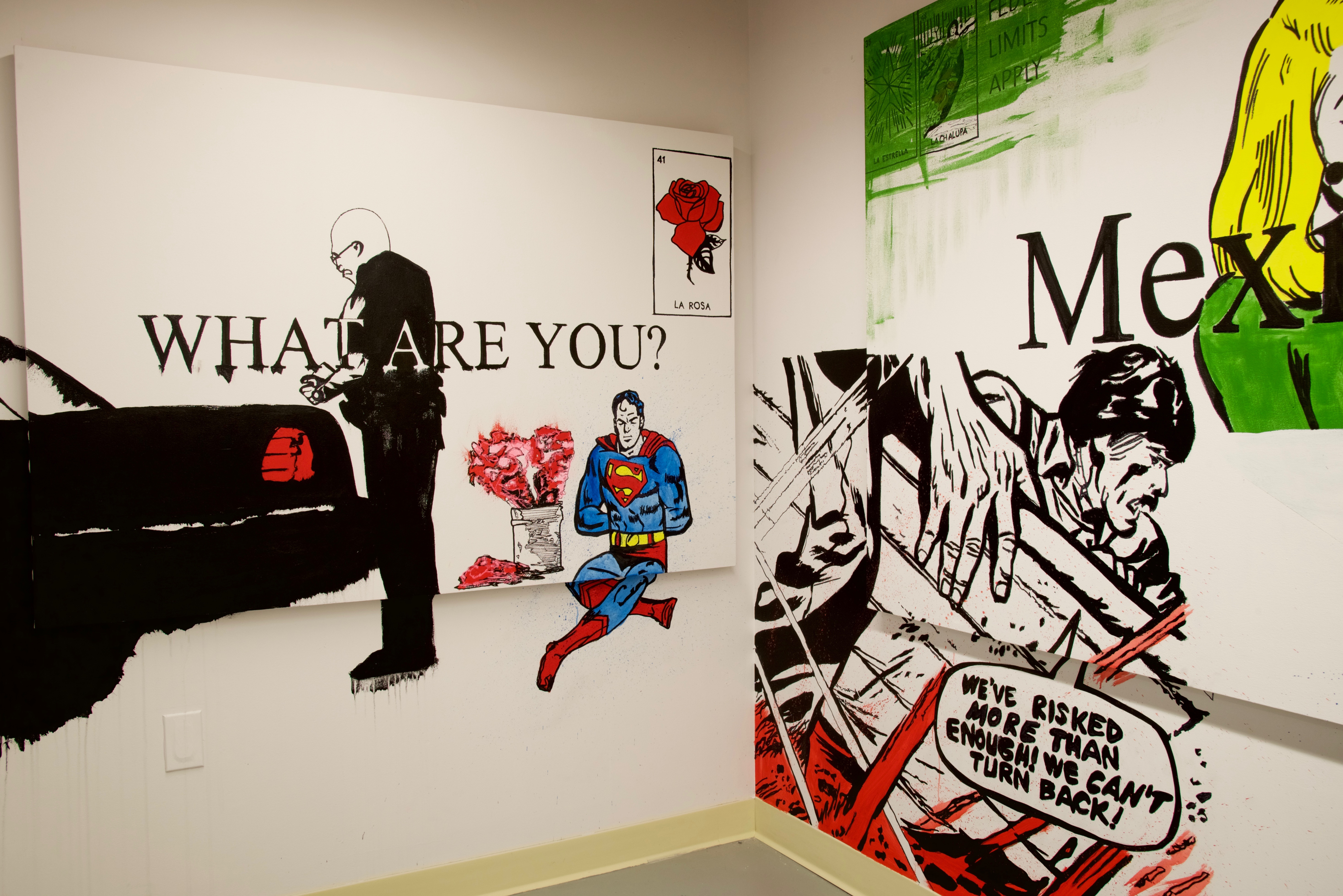 Painting titled What Are You? on left and part of artwork titled Mexican on right